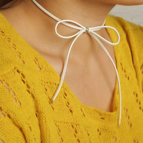 Hollow Out Adjustable Bow Embellished Chokers - White - Xl