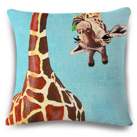 Buy Creative Flappy Giraffe Pattern Square Shape Flax Pillowcase (Without Pillow Inner)