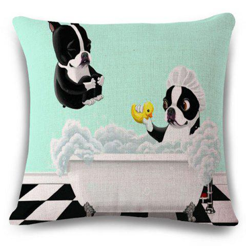Online Fashion Bathing Bulldog Pattern Square Shape Flax Pillowcase (Without Pillow Inner)