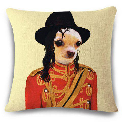 Trendy Fashion Puppy and Michael Jackson Pattern Square Shape Flax Pillowcase (Without Pillow Inner)