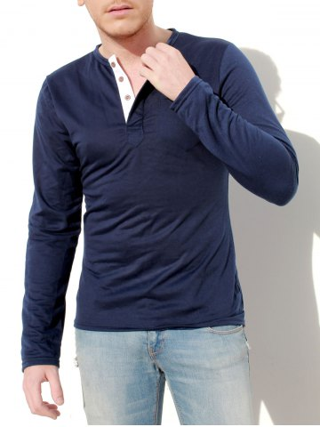 Cheap Stylish Slimming Round Neck Contrast Color Placket Long Sleeve Polyester T-Shirt For Men