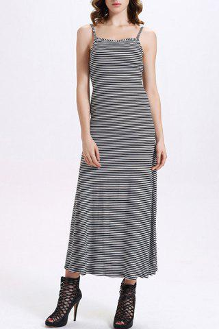 Fashion Fitted Backless Spaghetti Strap Striped Maxi Dress