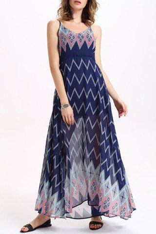 Affordable Zigzag Print Chiffon Boho Slip Maxi Dress PURPLISH BLUE L