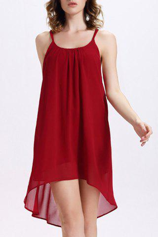 Outfits Chiffon Backless Slip Flowy Summer Dress RED M
