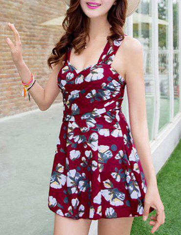 Buy Sweet Floral Print Flounce Bodycon Women's One-Piece Swimsuit WINE RED L