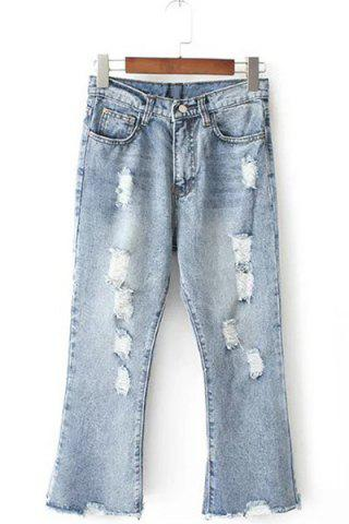 Shops Stylish Bleach Wash Button Design Ripped Jeans For Women
