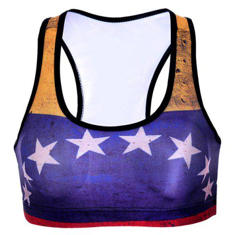 Racer Back Star Print Color Block Sports Bra