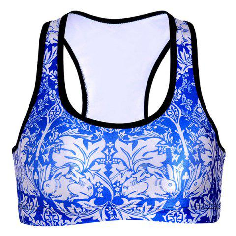 Affordable Refreshing U-Neck Color Block Floral Print Women's Sports Bra