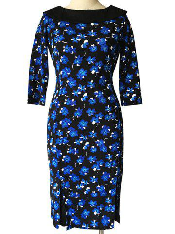 Fancy Vintage Round Neck 1/2 Sleeve Floral Print Midi Dress For Women
