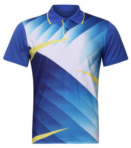 Affordable Men's Quick Dry Turn Down Collar Badminton Training T-Shirt - L LIGHT BLUE Mobile