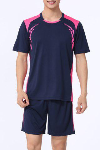 Sale Splicing Men's Training Jersey Set (T-Shirt+Shorts) SAPPHIRE BLUE M