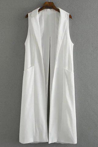 Discount Stylish Lapel Pure Color Back Split Loose Women's Long Waistcoat