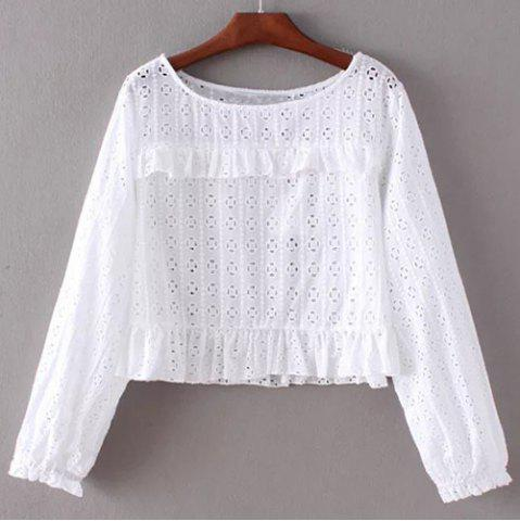 Buy Chic Round Collar Pure Color Women's Lacework Blouse