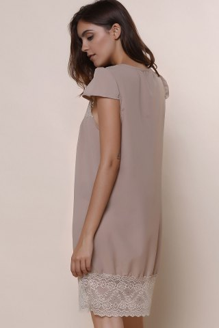 Shops Sexy Plunging Neck Short Sleeve Laciness Solid Color Women's Dress - M KHAKI Mobile