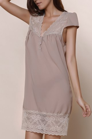 Hot Sexy Plunging Neck Short Sleeve Laciness Solid Color Women's Dress KHAKI M