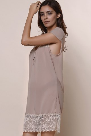 Fancy Sexy Plunging Neck Short Sleeve Laciness Solid Color Women's Dress - M KHAKI Mobile