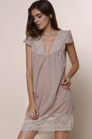 Best Sexy Plunging Neck Short Sleeve Laciness Solid Color Women's Dress - M KHAKI Mobile