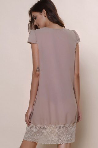 Affordable Sexy Plunging Neck Short Sleeve Laciness Solid Color Women's Dress - M KHAKI Mobile