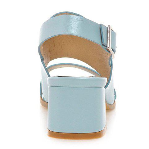 Discount Trendy PU Leather and Solid Colour Design Sandals For Women - 39 LIGHT BLUE Mobile