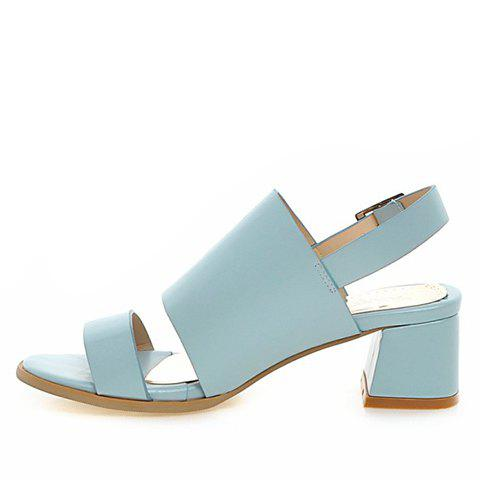 Online Trendy PU Leather and Solid Colour Design Sandals For Women - 39 LIGHT BLUE Mobile