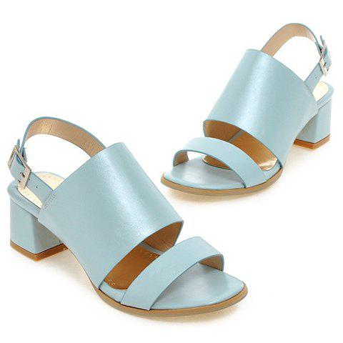 Shops Trendy PU Leather and Solid Colour Design Sandals For Women - 39 LIGHT BLUE Mobile
