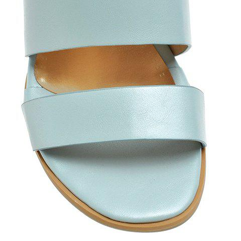 Affordable Trendy PU Leather and Solid Colour Design Sandals For Women - 39 LIGHT BLUE Mobile