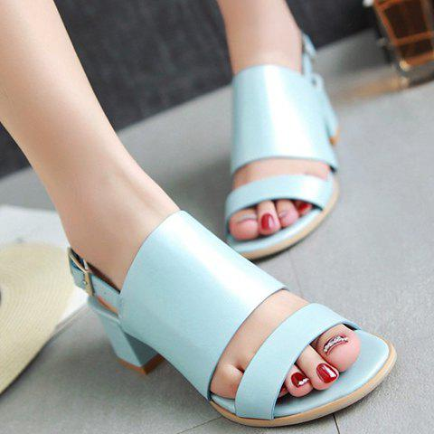 Fancy Trendy PU Leather and Solid Colour Design Sandals For Women - 39 LIGHT BLUE Mobile