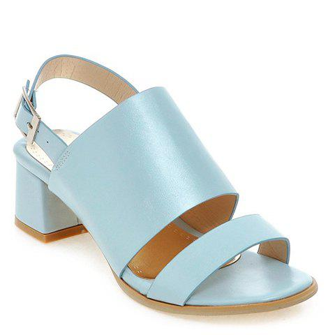 Affordable Trendy PU Leather and Solid Colour Design Sandals For Women LIGHT BLUE 39