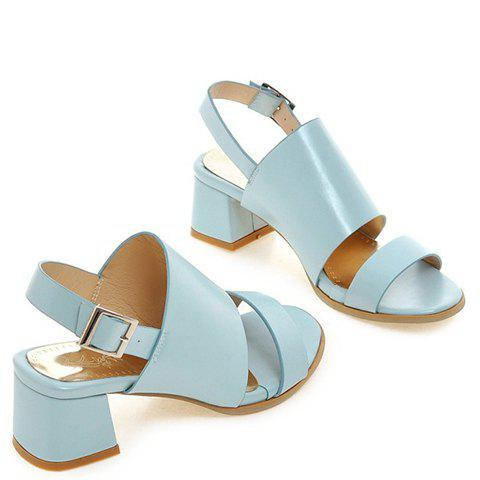 Sale Trendy PU Leather and Solid Colour Design Sandals For Women - 39 LIGHT BLUE Mobile