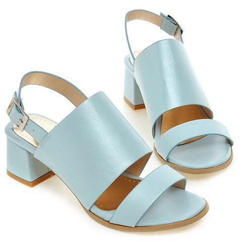 Trendy Trendy PU Leather and Solid Colour Design Sandals For Women - 39 LIGHT BLUE Mobile