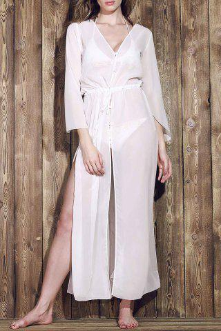 Store Long Sleeve Chiffon Maxi Cover Up Dress WHITE ONE SIZE(FIT SIZE XS TO M)