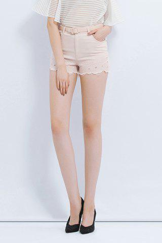 Discount Cut Out Solid Color Shorts