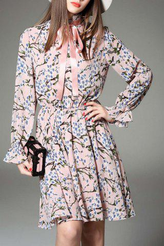 Fashion Bow Tied Collar Floral Print Dress
