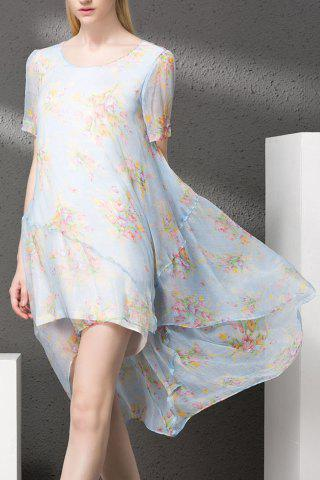 Outfits Floral Print High Low Silk Dress