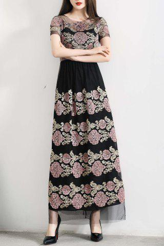 Store Beaded Flower Embroidered Long Dress