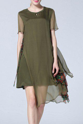 Affordable Asymmetric Flower Pattern Midi Dress