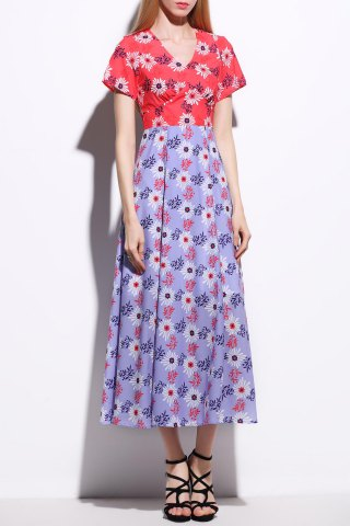 Online V Neck Daisy Print Color Block Dress