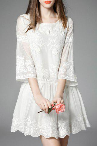 Store Bell Bottom Sleeve Embroidered Dress