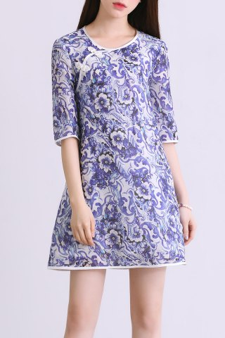 Outfit Floral Print A Line Half Sleeve Vintage Dress