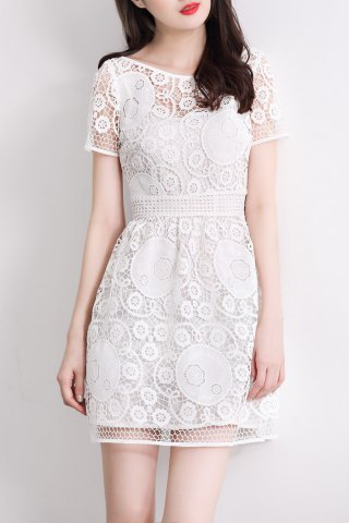 Latest Boat Collar Hollow Out Mini Dress