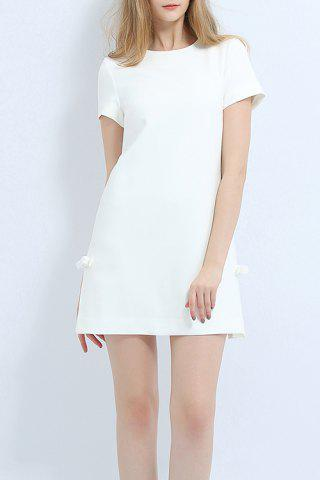 Discount Side Slit Bowknot Mini Dress