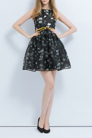 Buy Floral Print Layered Ball Gown Dress
