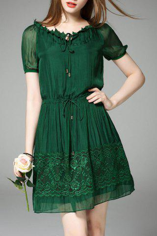 Fashion Pleated A Line Office Dress GREEN 2XL