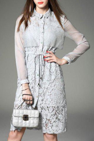 Fashion Single-Breasted Lace Shirt Dress