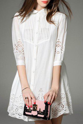 Store Solid Color Cut Out Shirt Dress