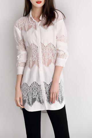 Outfits Lace Panel Button Up Long Shirt
