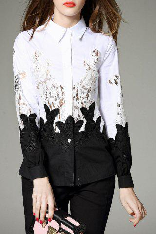 Online Lace Insert Work Shirt