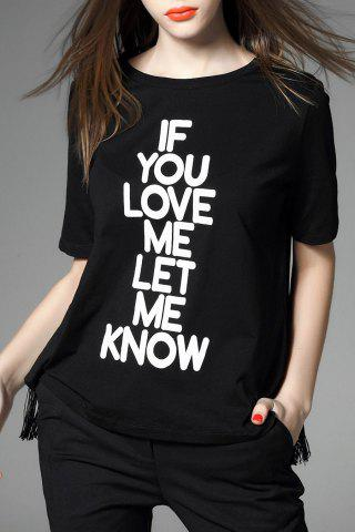 Shops Fringed Letter Printed Convertible T-Shirt