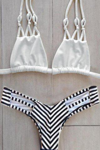 Fashion Stylish Halter Stripes Women's Bikini Set