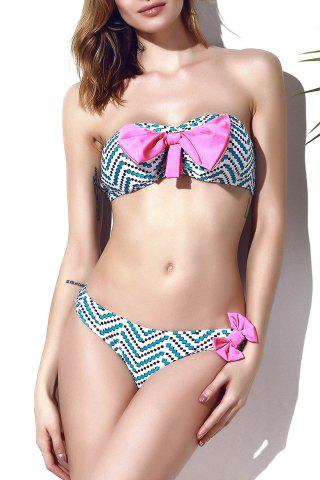 Trendy Bowknot Chevron Printed Bikini Set For Women - Multicolor - Xl